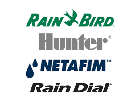 Rain-bird, Hunter, Netafim, and Rain-Dial logos